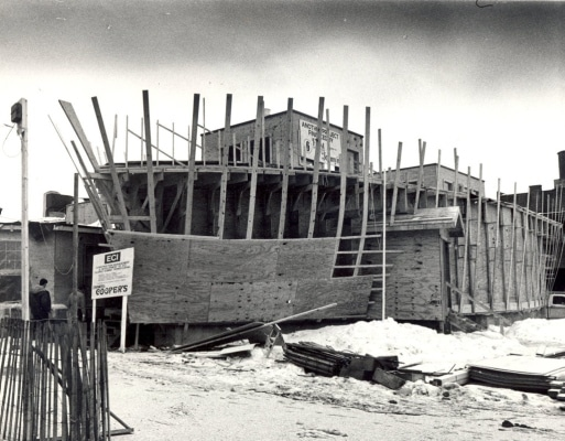 TIMES-SHAMROCK ARCHIVES Work on the addition to Cooper's Seafood House, being built in the shape of wooden sailing ship, continues at the North Washington Avenue restaurant in February 1987. The $1 million addition was to add 130 seats.