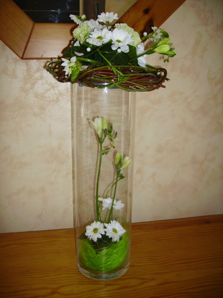 Composition Florale Dans Grand Vase Transparent Fleur
