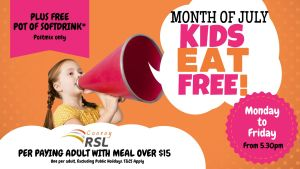 JULY- Kids Eat Free- Mon-Fri