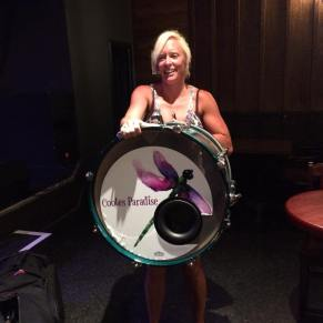 Amy shows off her new drumskin