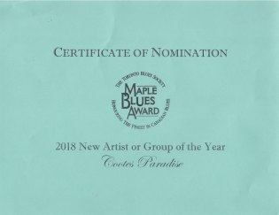 Maple Blues Award Nomination Certificate
