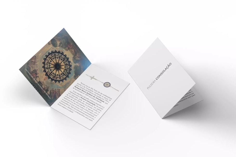 Imagem do folheto que acompanha a pulseira Consolação