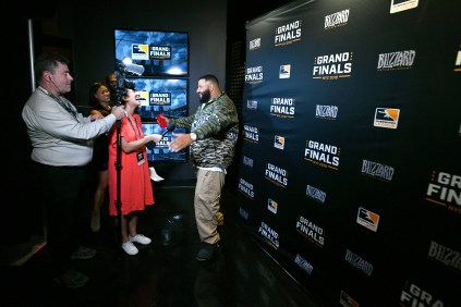 NEW YORK, NY - JULY 28: DJ Khaled is interviewed during Overwatch League Grand Finals - Day 2 at Barclays Center on July 28, 2018 in New York City. (Photo by Bryan Bedder/Getty Images for Blizzard Entertainment )
