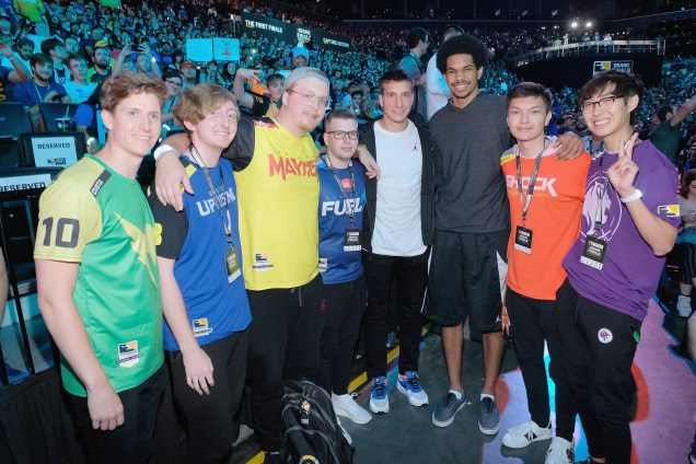 NEW YORK, NY - JULY 28: Bogdan Bogdanovic, Jarrett Allen and Overwatch Team players attend Overwatch League Grand Finals - Day 2 at Barclays Center on July 28, 2018 in New York City. (Photo by Matthew Eisman/Getty Images for Blizzard Entertainment )