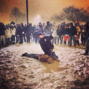 Cop Abuses Citizen During Snowball Fight / Blizzard (Video)