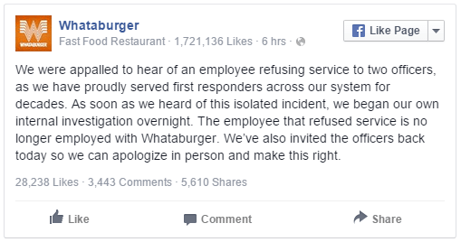 Whataburger Worker Refuses Cops Service, Cop Says Most Ironic ...