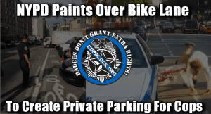 NYPD Caught Painting Over Bike Lanes So Lazy Cops Don't Have To Walk