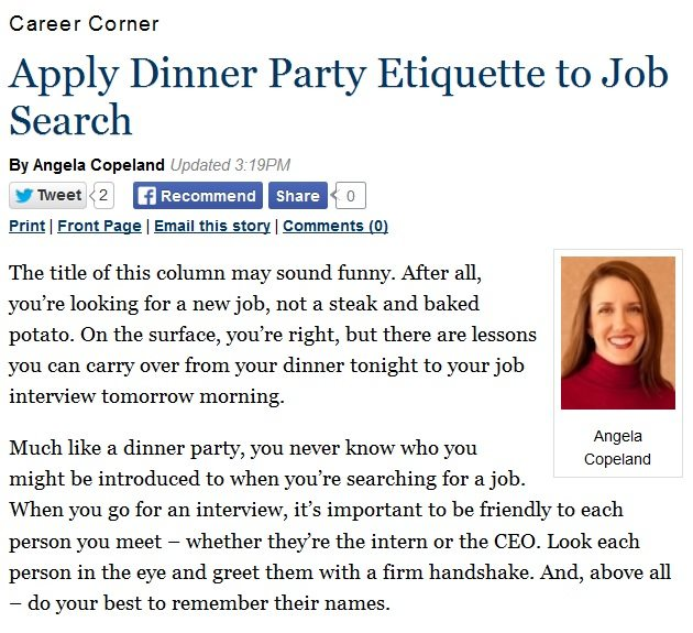 Applying Dinner Party Etiquette To Your Job Search Copeland Coaching