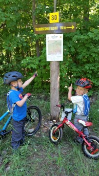 Kids pointing at sign