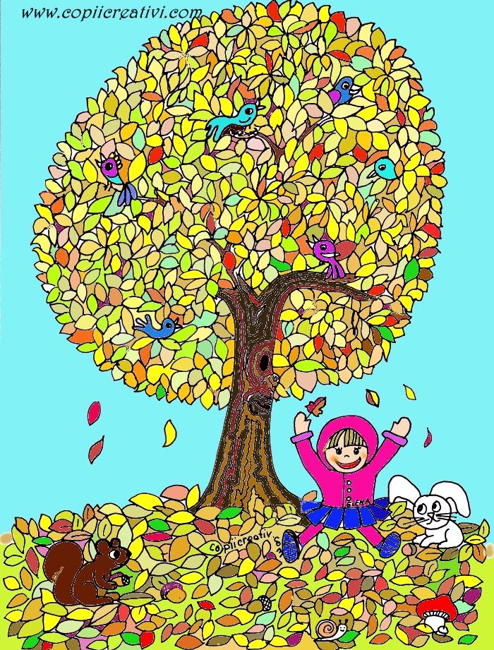 Copacul- desen de colorat