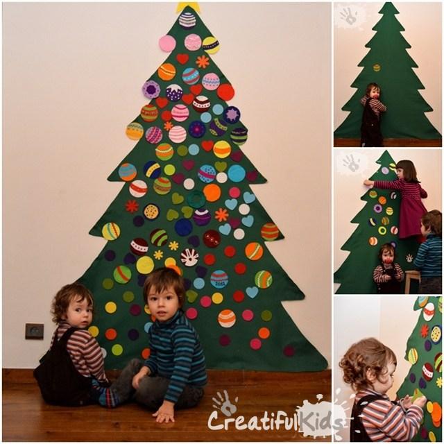 Un brad pe perete ornat de copiii mei- ornamente de craciun