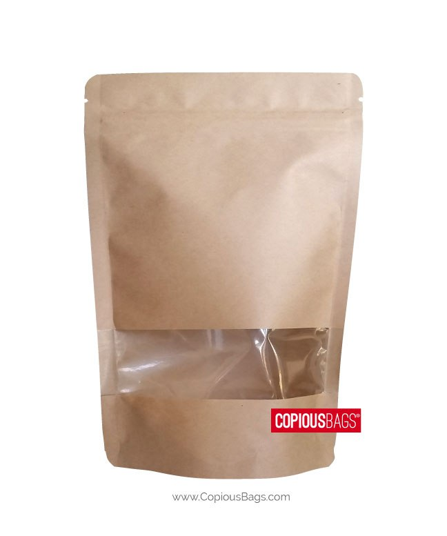 1 oz Kraft Stand Up Pouches with Window 3×5 : 28 g
