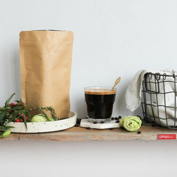 x4 oz Kraft Stand Up Pouches 5×8 : 140g - kraft coffee bags