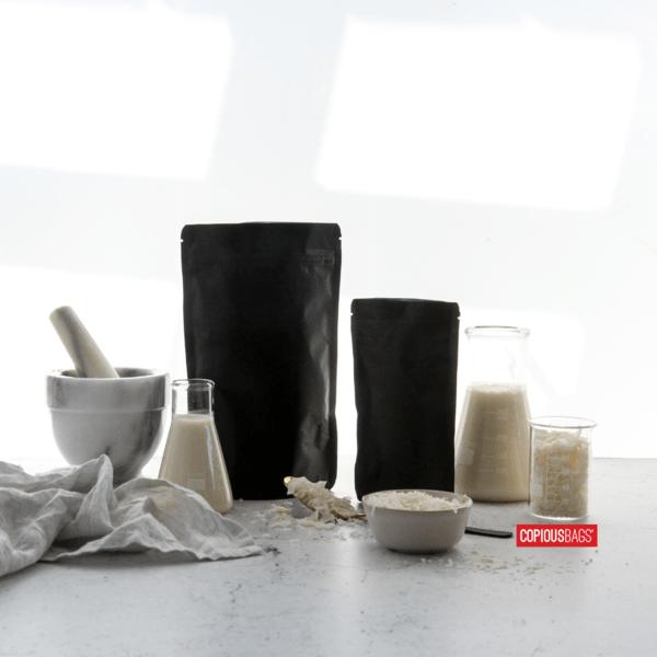 black stand up pouch – black kraft paper bag – copious bags