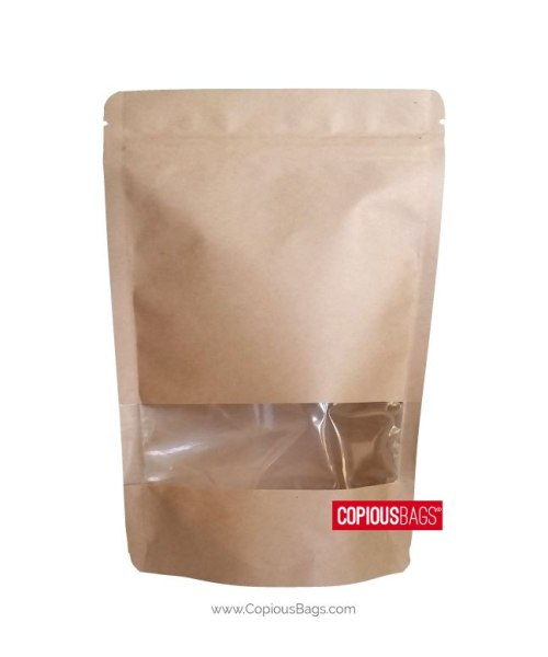 8 oz Kraft Stand Up Pouches with Window 6×9 : 250g