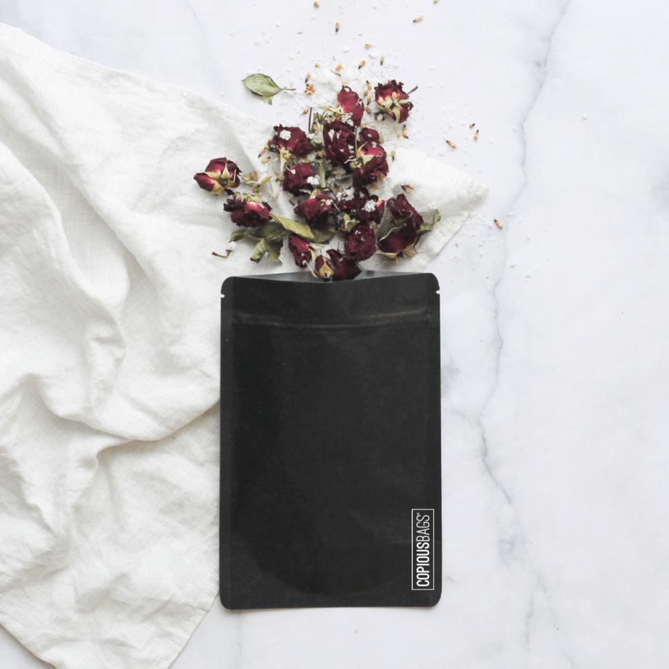 black kraft stand up pouch bag – bath salt pouch packaging bags – Copious Bags