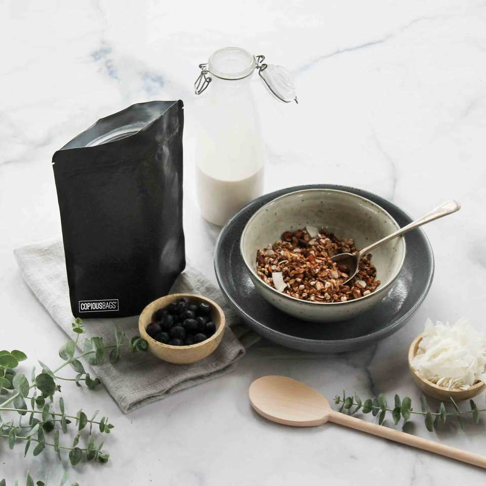 black kraft stand up pouch – granola packaging bags – Copious Bags