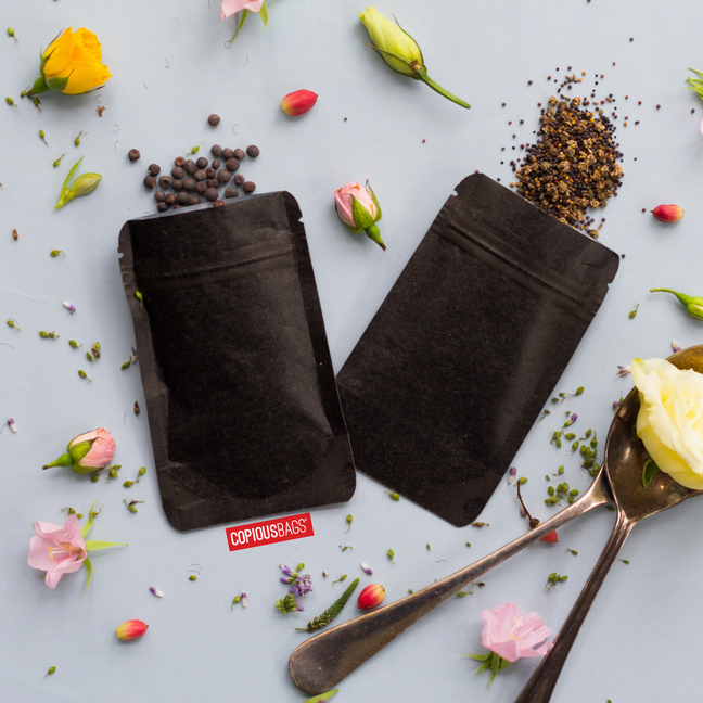 black kraft seasoning packets