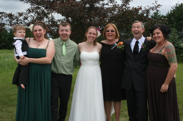 Left to right: my nephew with my sister-in-law (who was pregnant with my next nephew at the time), my brother, me, my mom, my dad, and my sister. This goofy picture pretty much sums up my family!