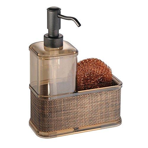 mDesign Soap Dispenser Pump with Sponge or Scrubber Holder for Kitchen