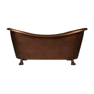 Hammered Clawfoot Copper Double Slipper Tub