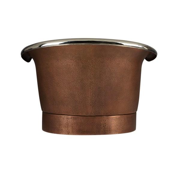 Hammered Double Slipper Nickel Interior Copper Tub