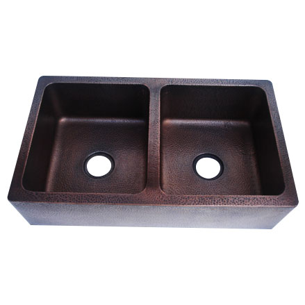 Rectangular Double Bowl Copper Kitchen Sink - Coppersmith Creations - Coppersmith Creations
