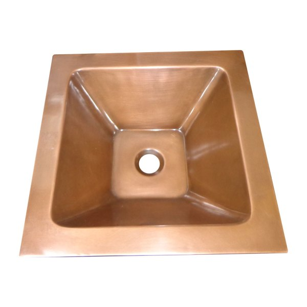 Square Double Wall Copper Sink Tapering Depth - Coppersmith Creations