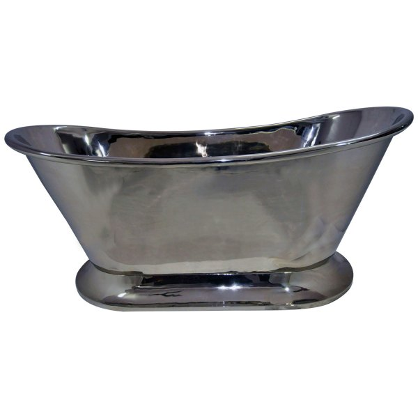 Nickel Finish Curved Pedestal Copper Bathtub - Coppersmith Creations