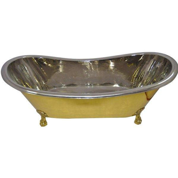 Clawfoot Brass Bathtub Nickel Interior - Coppersmith Creations
