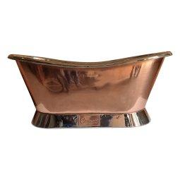 Slanting Base Copper Bathtub Nickel Inside & on Base Copper Outside