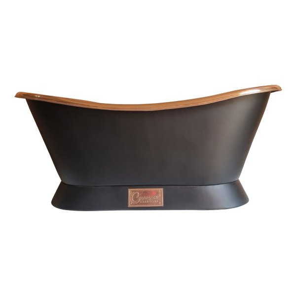 Slanting Base Copper Bathtub Full Black Exterior