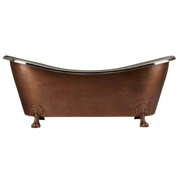 Copper Clawfoot Tub Nickel Interior Antique Hammered Copper Exterior Double Slipper