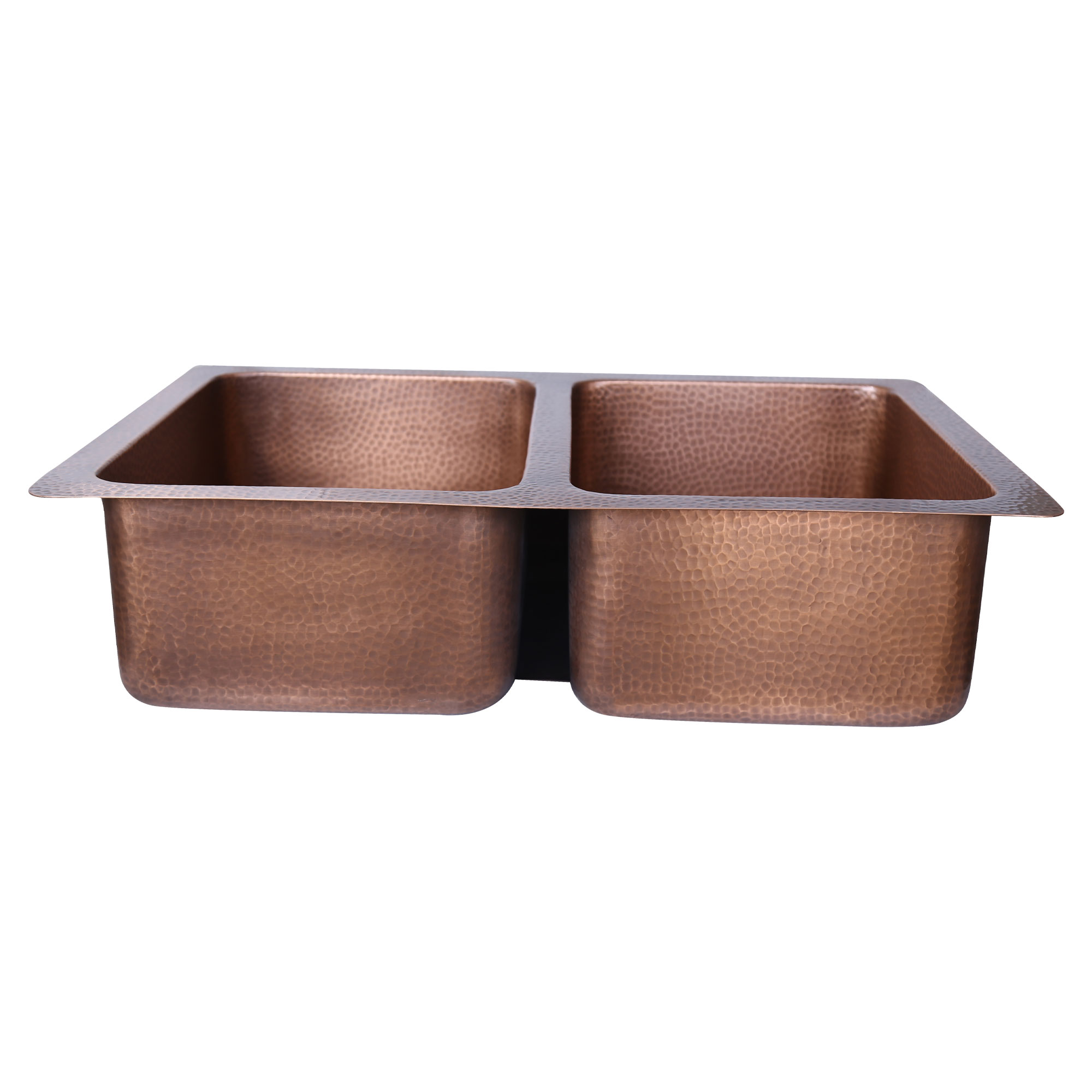 Double Bowl Single Wall Copper Kitchen Sink Hammered Antique Finish Without Front Apron Coppersmith Creations