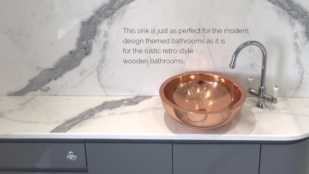 "Copper Sink Round Shining 16"" x 6"""
