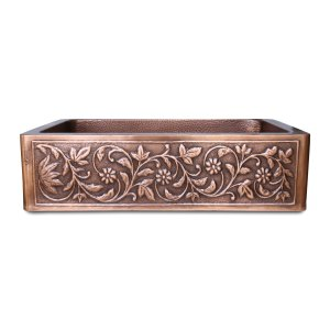 Single Bowl Vine Design Front Apron Copper Kitchen Sink