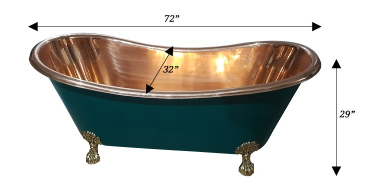 Copper Bathtub RAL 6004 Blue-Green Exterior & Brass Clawfoot Legs