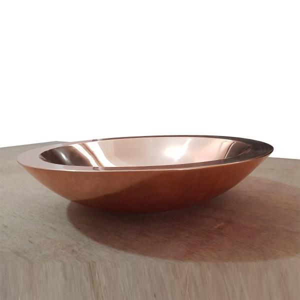 Round Copper Sink Polished 18 x 5