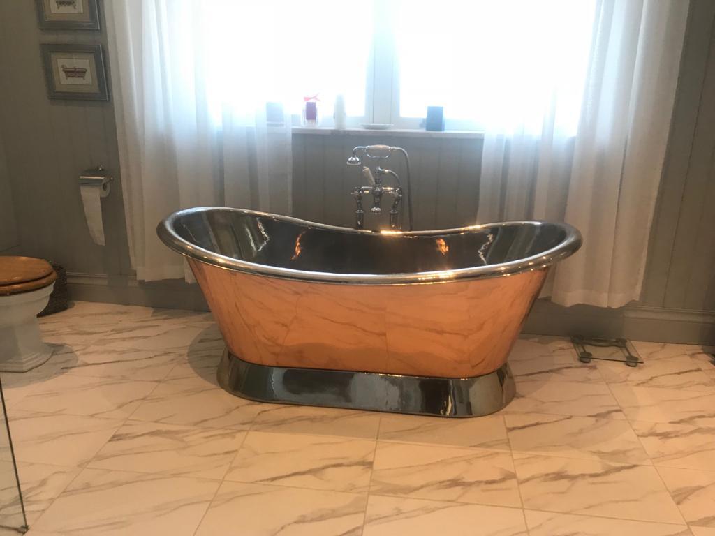 Copper Bathtub Nickel Inside & on Base Copper Outside