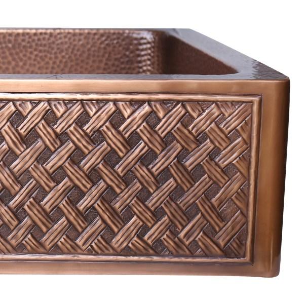 Single Bowl Woven Front Apron Copper Kitchen Sink