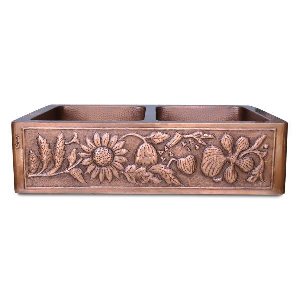 Double Bowl Sunflower Design Front Apron Copper Kitchen Sink