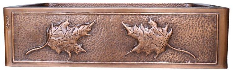 Single Bowl Maple Leaf Front Apron Copper Kitchen Sink