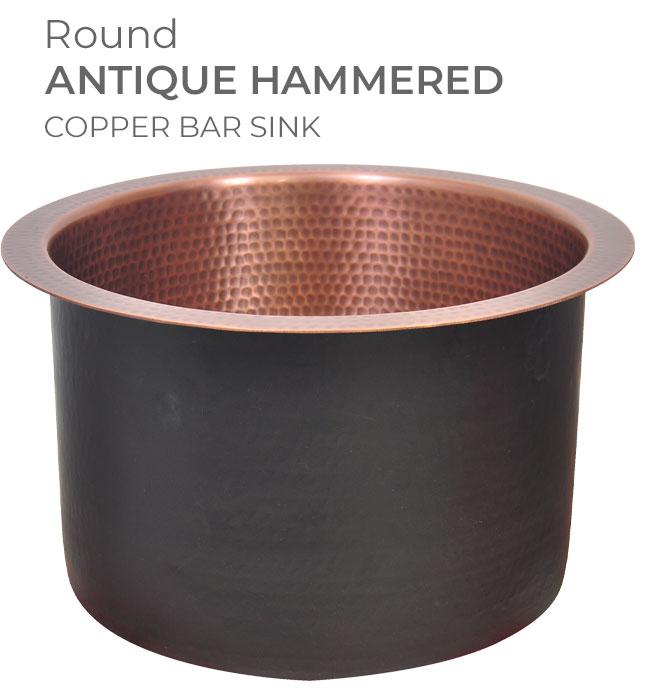 Round Antique Hammered Copper Bar Sink