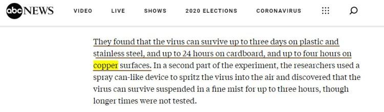 Coronavirus life on Copper surface