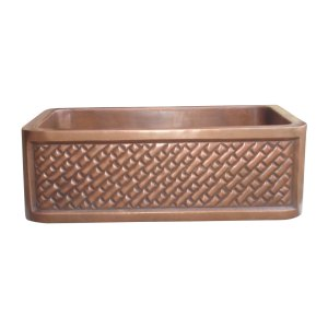 Single Bowl Diagonal Brick Front Apron Copper Kitchen Sink