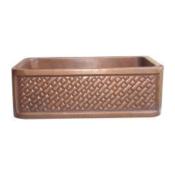 Single Bowl Diagonal Brick Front Apron Copper Kitchen Sink