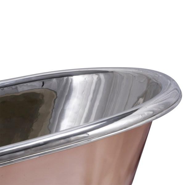 Copper Bathtub + Sink Nickel Inside & on Base