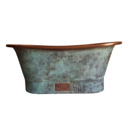 Copper Bathtub Copper Interior & Blue Green Patina Exterior Finish