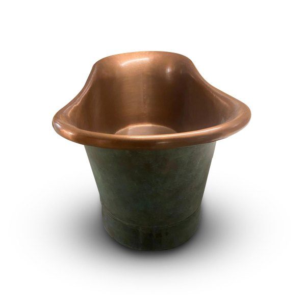 Copper Bathtub Copper Interior & Blue Green Patina Exterior with Beading on Base