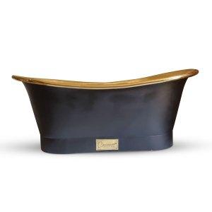 Straight Base Brass Bathtub Black Outside